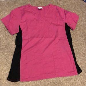 Pink and black scrub top